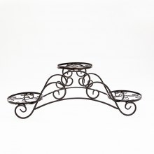 Easy Assembly Black European Iron Three Trays Flower Rack