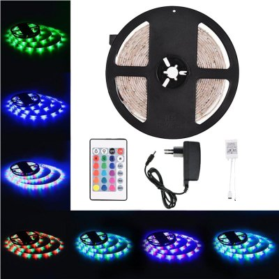 Supli 5M Waterproof Flexible Strip Smd 3528 Rgb 300LEDS with 44KEY Ir Remote Controller And 12V 3A Power Supply
