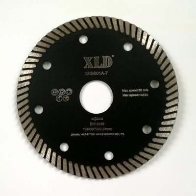 Xld Diamond Hot-Pressed Turbo Saw Blade Grade A 105 x 2 x 7 x 22.23 Suitable for Cutting Building Material