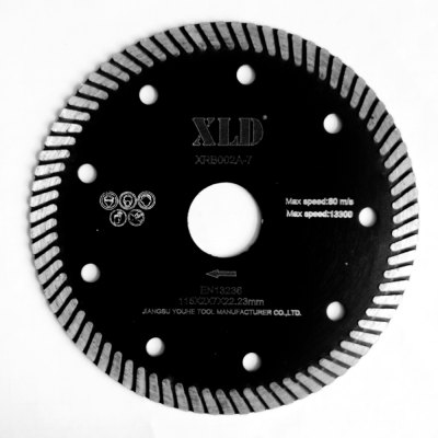 Xld Diamond Hot-Pressed Turbo Saw Blade Grade A 115 x 2 x 7 x 22.23 Suitable for Cutting Building Material