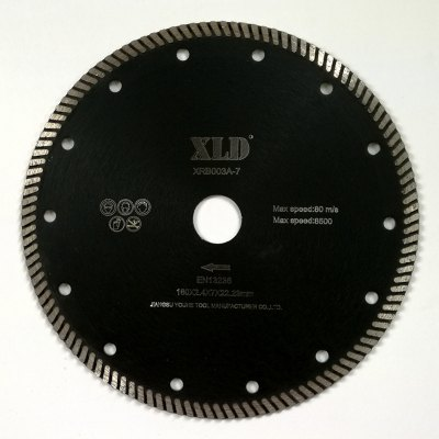 Xld Diamond Hot-Pressed Turbo Saw Blade Grade A 180 x 2.4 x 7 x 22.23 Suitable for Cutting Building Material