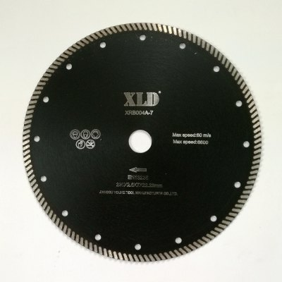 Xld Diamond Hot-Pressed Turbo Saw Blade Grade A 230 x 2.6 x 7 x 22.23 Suitable for Cutting Building Material