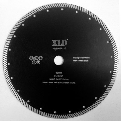 Xld Diamond Hot-Pressed Turbo Saw Blade Grade A 300 x 3.0 x 10 x 25.4 Suitable for Cutting Building Material