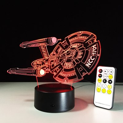 Yeduo 3D Battleship Spacecraft Led Illusion Mood Lamp Bedroom Table Lamp Night Light Bulbing Child Kids Friends Man Family Gifts