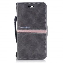 Wkae Genuine Quality Elegant Pu Leather Flip Stand Case Cover with Lanyard Card Slots for Huawei Y5 2017