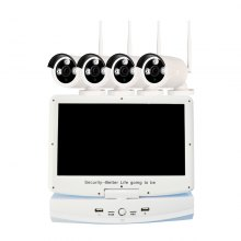 4 Channel 720P Wireless NVR Kit 10.1 inch LCD WiFi NVR 4 x 1.0MP WiFi IP Camera with Night Vision
