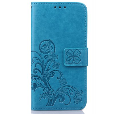 Yc Lucky Clover Holster Leaf Card Lanyard Pu Leather Case for Samsung S7