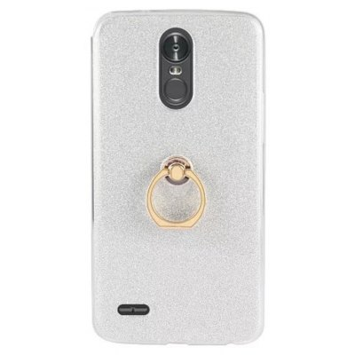Wkae Soft Flexible TPU Back Cover Case Shockproof Protective Shell with Bling Glitter Sparkles and Kickstand for LG STYL