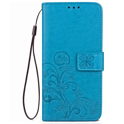 Yc Lucky Clover Holster Leaf Card Lanyard Pu Leather Case for Samsung J7 ( 2017 )