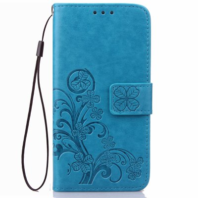 Yc Lucky Clover Holster Leaf Card Lanyard PU Leather Case for Samsung J7