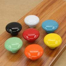 7PCS Candy Color Round Furniture Knobs Ceramic Drawer Knob Cabinet Pulls Cabinet