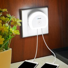Brelong Creative Light Switch + Sensor Led Night Light with Dual Usb (5v) Wall Board Charger Mobile Phone Night Light Eu/Us 110-240V