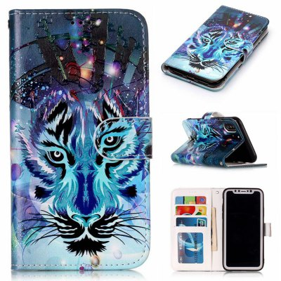 Wolf Varnish Relief Pu Phone Case for Iphone x