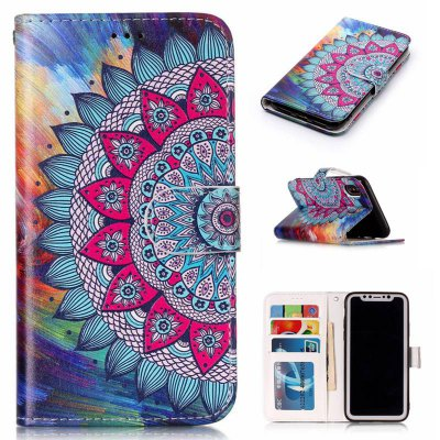 Half Flowers Varnish Relief Pu Phone Case for Iphone x