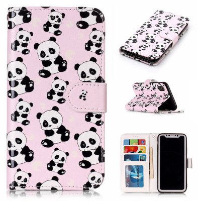 Panda Varnish Relief Pu Phone Case for Iphone x