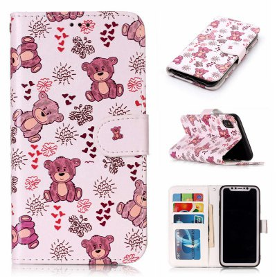 Bear Varnish Relief Pu Phone Case for Iphone x