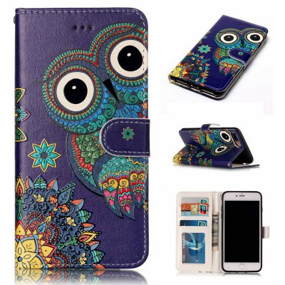 National Wind Owl Varnish Relief Pu Phone Case for Iphone 8 Plus 7 Plus