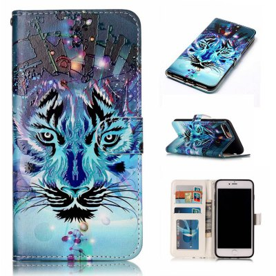 Wolf Varnish Relief Pu Phone Case for Iphone 8 Plus 7 Plus