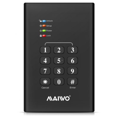 Maiwo K2568kpa Keypad Encrypted Sata 2.5 Inch To Usb 3.0 Hard Drive Enclosure Black