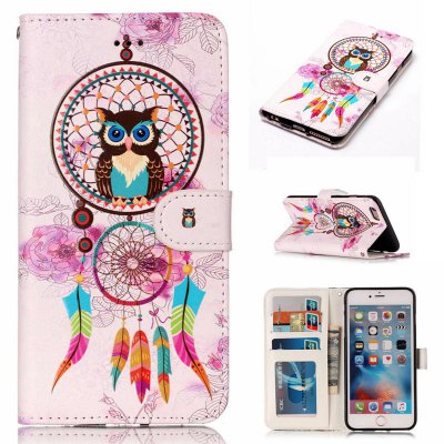Wind Chimes Owl Varnish Relief Pu Phone Case for Iphone 6S Plus / 6 Plus