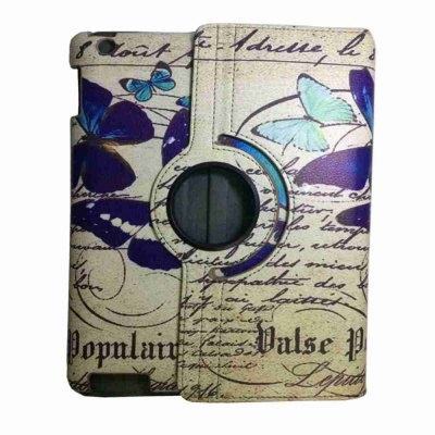 Retro 360 Degree Rotating Protective Butterfly Painted Pu Tablet Case for Ipad 2/3/4