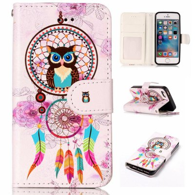 Wind Chimes Owl Varnish Relief Pu Phone Case for iPhone 5 / 5S / SE
