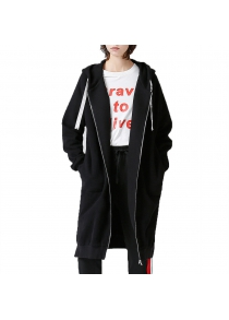 Toyouth Sweatshirts 2017 Autumn Women Loose Solid Color Casual Long Hoodies Zipper Outerwear Coat