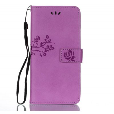 Wkae Double Side Embossing Rose Flower Synthetic Leather Wallet Case Soft Silicone Back Cover with Flip Kickstand And Lanyard for Huawei Mate 9 Pro