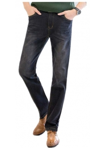 Baiyuan Trousers Business Casual Mens Jeans Black