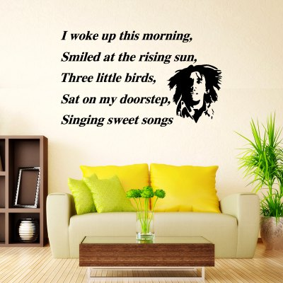 DSU Wall Art Sticker Decal Bob Marley Three Little Birds Quote