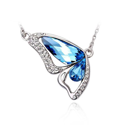 Butterfly Made with Ocean Blue Made with Swarovski Elements Crystal Pendant Necklace