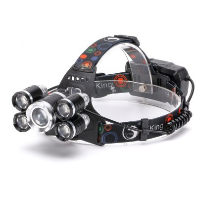 U`King Zq-X843 4000LM Xml-T6 Rechargeable 4 Mode Zoomable 5 Led Bulb Headlamp