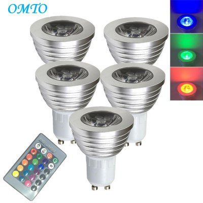 OMTO 5PCS E27 3W RGB 16 Color Changing Spotlight with IR Remote Control Mood Ambiance Lighting