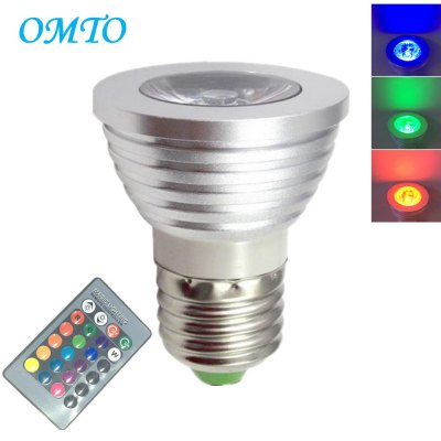 OMTO 1PCS E27 3W RGB 16 Color Changing Spotlight with IR Remote Control Mood Ambiance Lighting