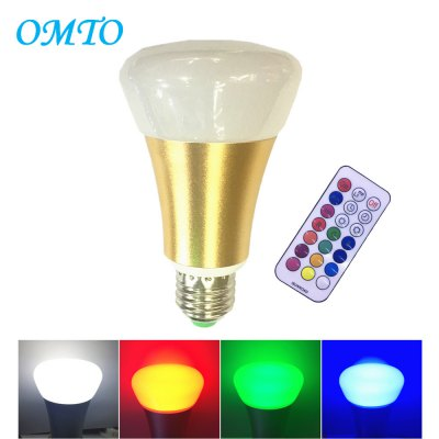 OMTO E27 10W A19 Timing Remote Controller RGBW Color Changing LED Light Bulbs,Dimmable 85-265V,Daylight White and Color Ambiance Extension
