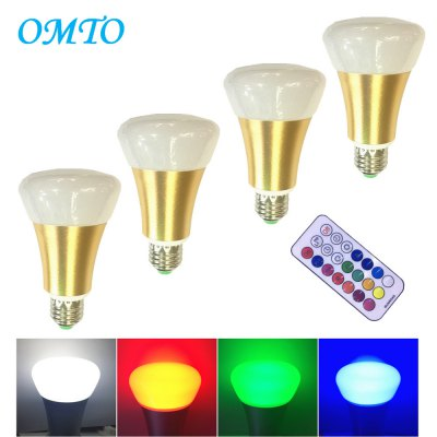 OMTO 4PCS E27 10W A19 RGBW Color Changing LED Light Bulbs with Timing Remote Controller