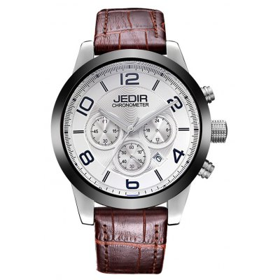 JEDIR 2025 5291 Leather Band Male Quartz Movement Watch