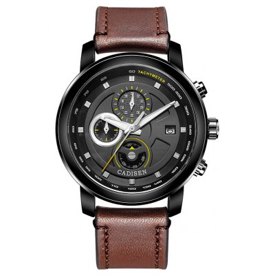 New products gadgets 2017 CADISEN Top Men Quartz Watches Genuine Leather Hot Fashion Military Sports Luxury Brand Waterproof