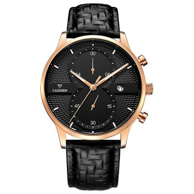 CADISEN Men Watches Top Brand Luxury Fashion Business Quartz Watch Sport Leather Waterproof Wristwatch