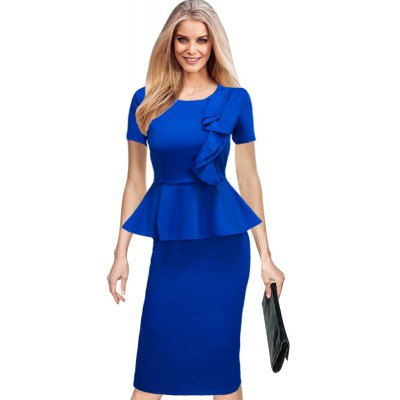 2017 Hot Sale European and American Women Summer Ruffle Short sleeve bodycon Party Evening pencil Plus Size Dresses