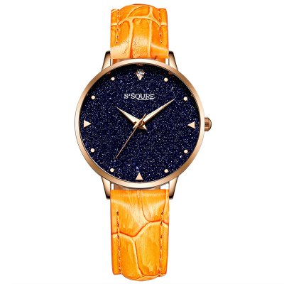 S003 4344 Fashionable Leather Band Women Quartz Watch
