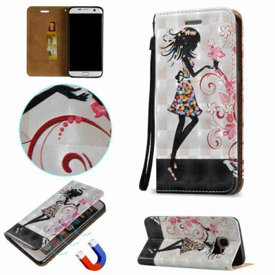 New products gadgets Style Magnetic 3D Embossed Painted Pu Phone Case for Samsung S7 Edge