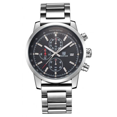 BENYAR 5102M 4493 Calendar Display Steel Band Male Watch