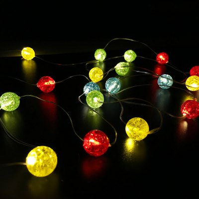Color Glass Beads Shape String Lights for Patio Micro 2M 20-LED