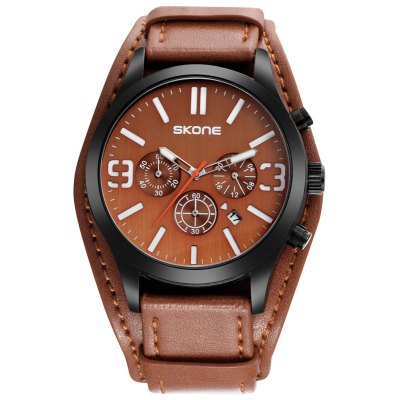 SKONE 9449EG 3834 Multifunctional PU Band Men Watch