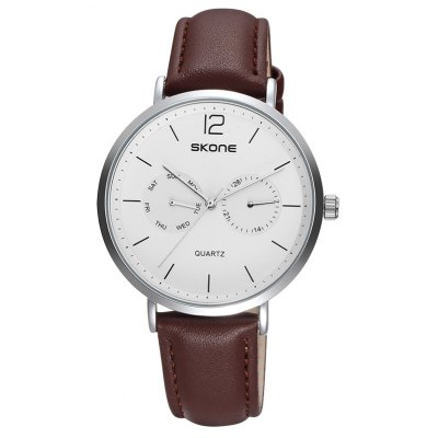 SKONE 9460EG 1071 Leather Band Men Quartz Watch