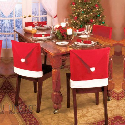 Christmas Decoration Red Hat Chair Cover