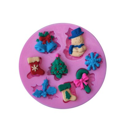 AY - XP136 Christmas Decoration Snowman Snowflake Silicone Pattern Fondant Mold for Cake Decoration
