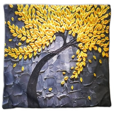3D Trees Painting Style Pattern Painting Style Golden Rice Pillow Cover