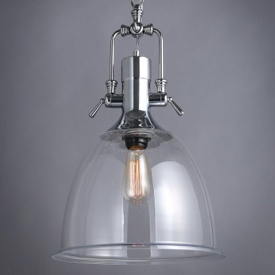 Nordic E27 Bulb Base Modern Silver Metal and Clear Glass Pendant Light Fixture